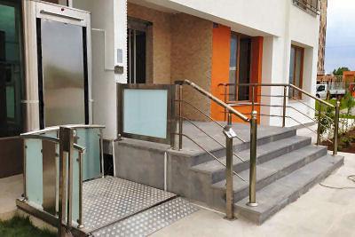 engelli asansör çeşitleri, engelli açık tip asansörü
